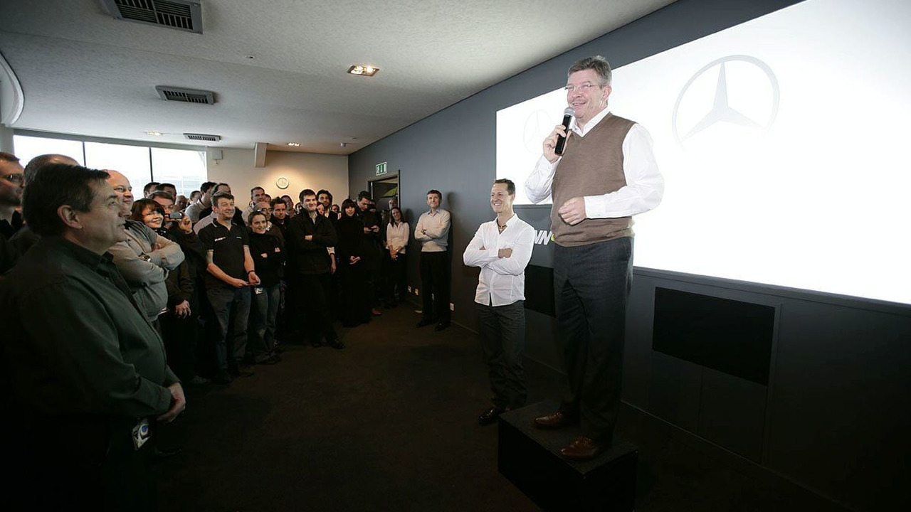 Ross Brawn Introduces Michael Schumacher to Staff, Mercedes GP, Brackley, 23.12.2009