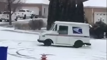 Mailman takes a break from delivering packages to do donuts