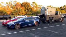 Tesla Model S uses industrial generator to set new 1/4 mile record