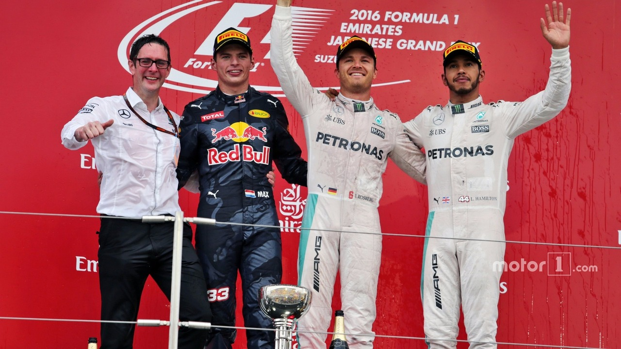 The podium (L to R)- Andrew Shovlin, Mercedes AMG F1 Engineer; second place Max Verstappen, Red Bull Racing; Race winner, Nico Rosberg, Mercedes AMG F1; third place Lewis Hamilton, Mercedes AMG F1