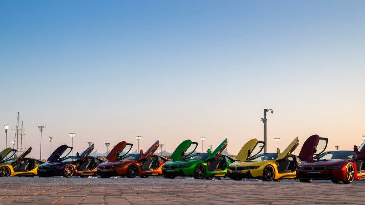 Colorful BMW i8s at Yas Marina Circuit