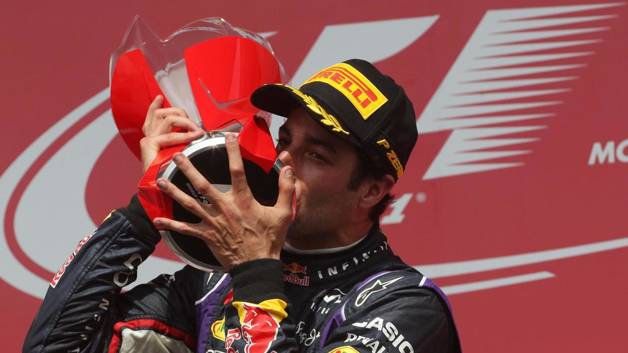 Race winner Daniel Ricciardo (AUS) celebrates on the podium, 08.06.2014, Canadian Grand Prix, Montreal / XPB