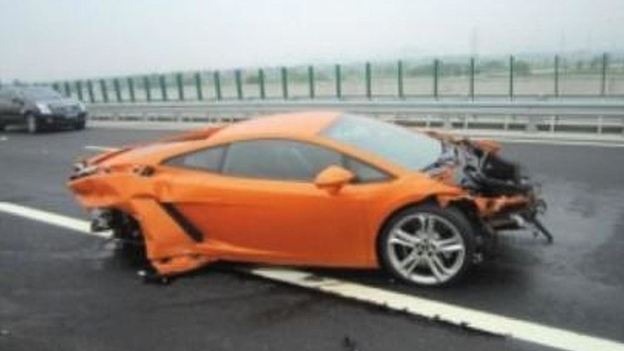 Crashed Lamborghini Gallardo in China