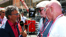 (L to R): Eddie Jordan, BBC Television Pundit with Chris Evans, Broadcaster and Sir Tom Hunter, Businessman on the grid