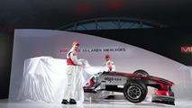 Jenson Button, Lewis Hamilton, Vodafone Mclaren Mercedes MP4-25 Launch, Vodafone UK HQ, Newbury, England, 29.01.2010