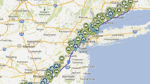 Public EV charging spots of path for John Broder Tesla Model S test drive 14.2.2013