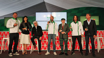 (L to R): Scott Quinnell, Former Rugby Player; Stephanie Sigman, Actress; Bernie Ecclestone; Gianluca di Tondo, Heineken Global Head of Brand; Jackie Stewart; Carles Puyol, Former Football Player and David Coulthard, Red Bull Racing and Scuderia Toro Rosso