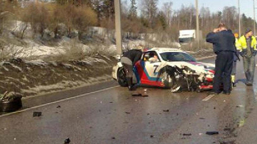 Porsche 997 Martini GT2 crashes in Finland