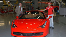 Felipe Massa and Amedeo Felisa in Maranello posing with Ferrari 458 Italia, 05.10.2009