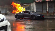 Brand new Audi R8 catches fire in Thailand