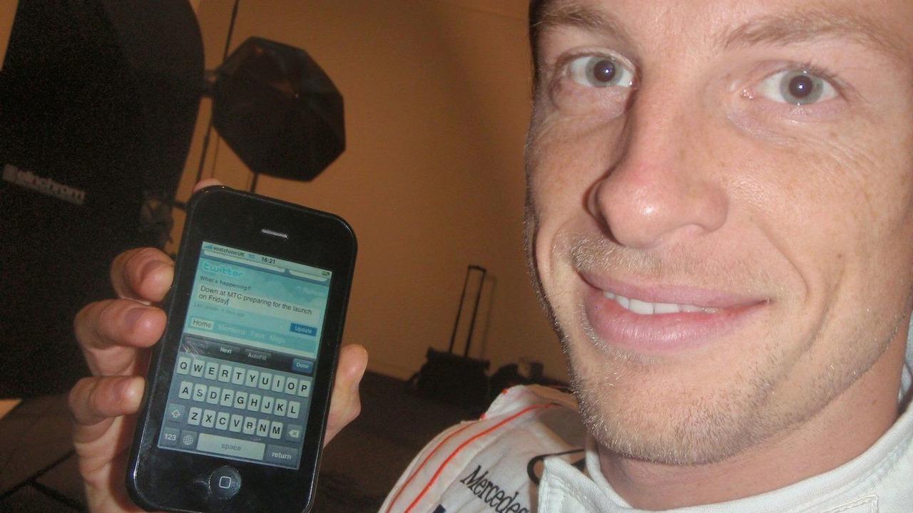 Jenson Button tweeting prior to McLaren MP4-25 launch - 27.01.2010