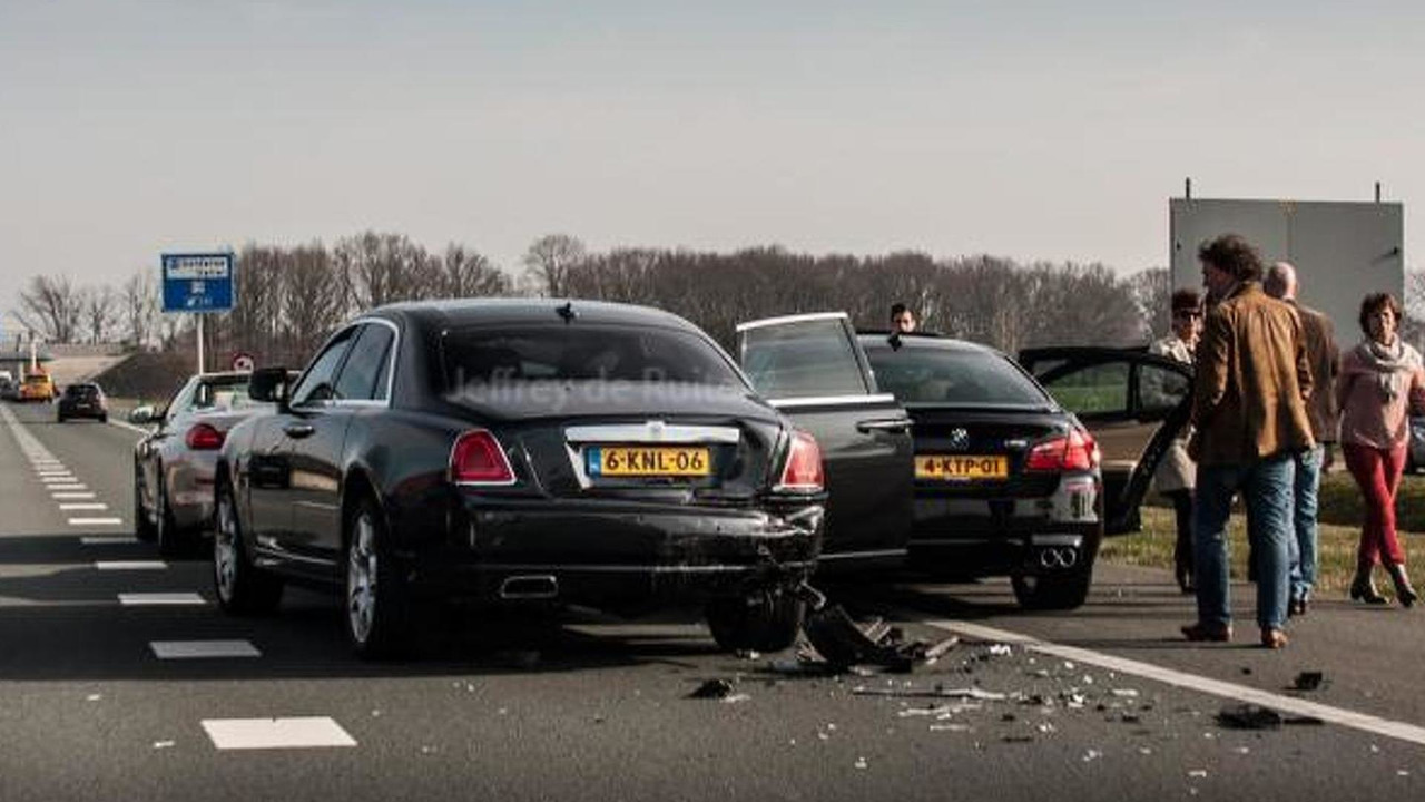 BMW M5 and Rolls-Royce Ghost accident