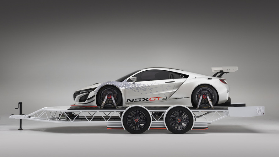 Acura NSX GT3 looks fast even when sitting on matching trailer