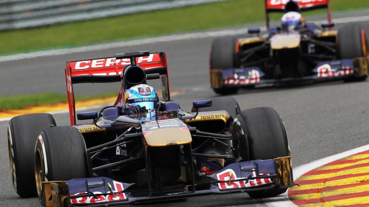 Jean-Eric Vergne leads team mate Daniel Ricciardo 25.08.2013 Belgian Grand Prix