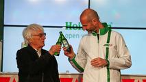 Bernie Ecclestone and Gianluca di Tondo, Heineken Global Head of Brand