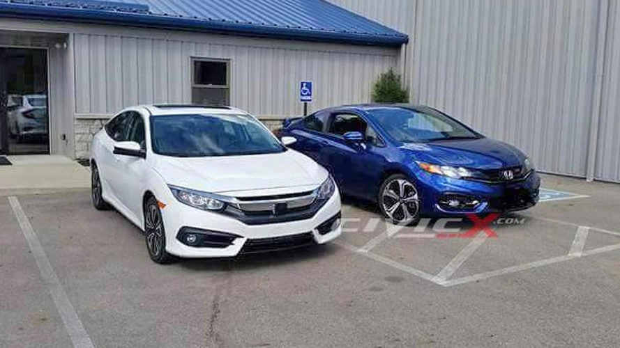 2016 Honda Civic Sedan photographed alongside outgoing coupe model