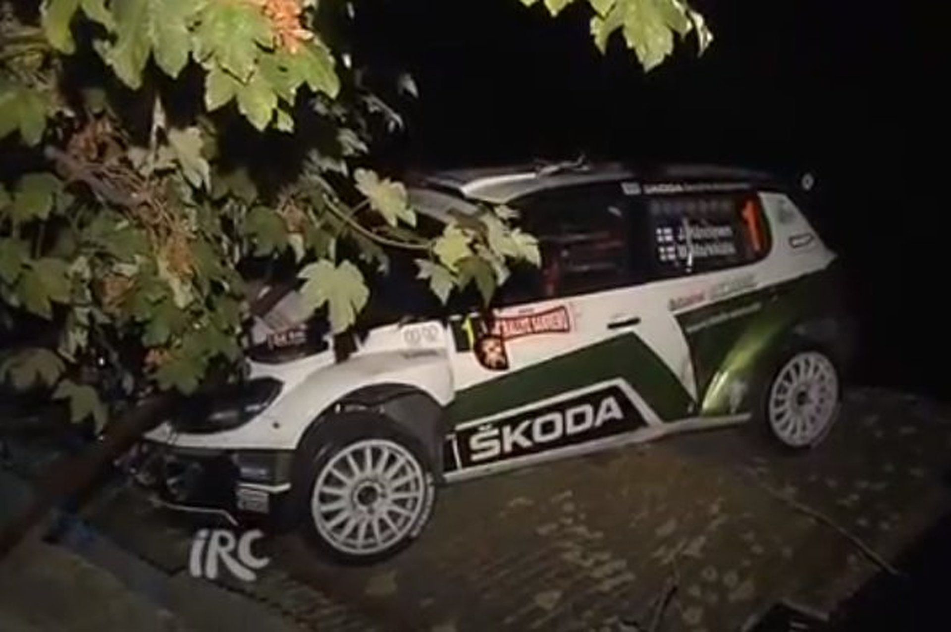 IRC Rally Skoda Crashes Onto the Roof of a House