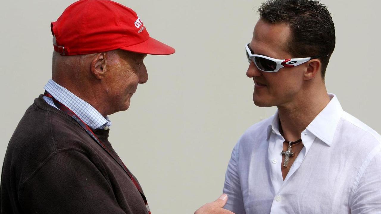 27.03.2010, Melbourne, Australia, Niki Lauda (AUT) and Michael Schumacher (GER) / xpb.cc