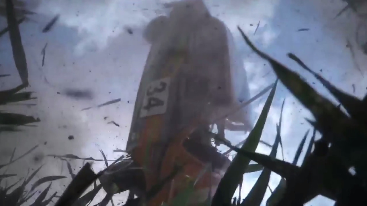 Dashcam falls out during rally crash, records epic shot