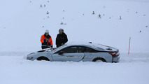 BMW i8 stuck in the snow