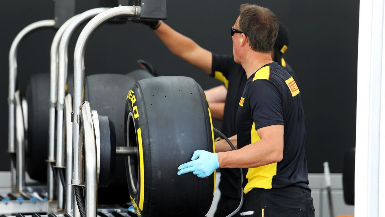 Pirelli tyre construction in the paddock, 24.07.2014, Hungarian Grand Prix, Budapest / XPB