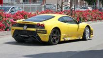 Ferrari F450 yellow prototype spied outside of Fiorano test circuit
