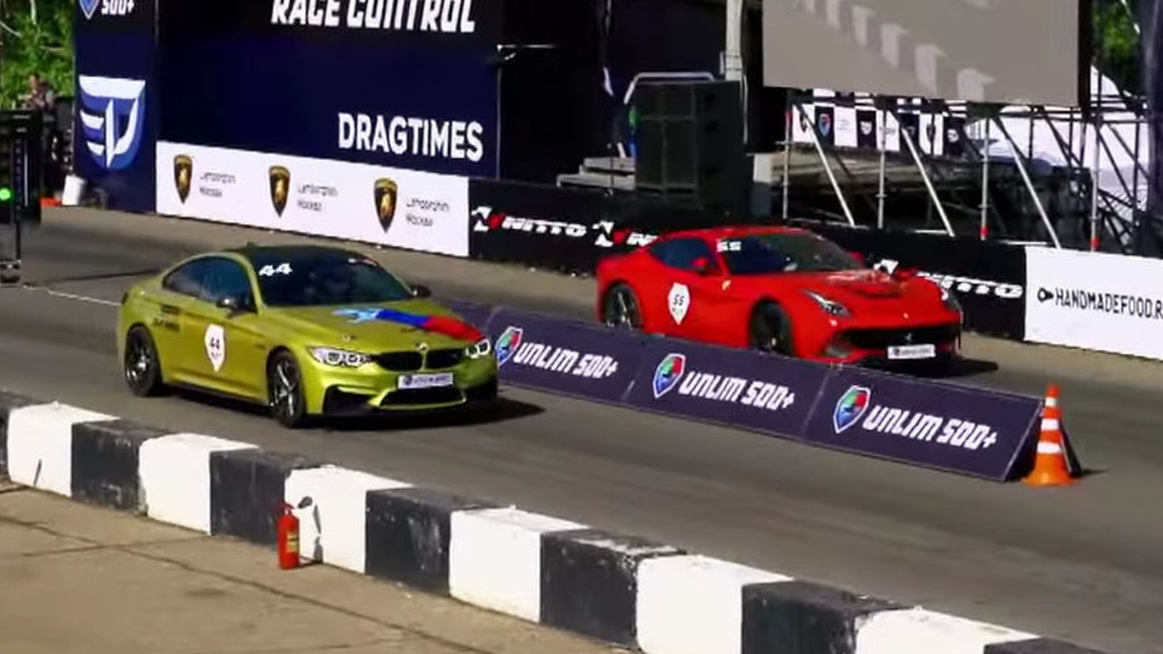 BMW and Ferrari drag race