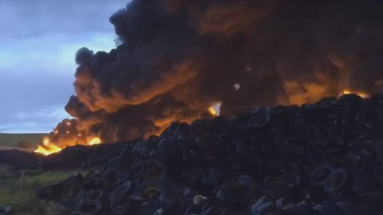 Massive tire fire burning near Madrid