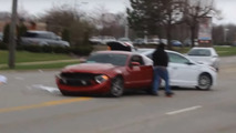 Inexperienced Mustang driver tries to show off, rear-ends another car