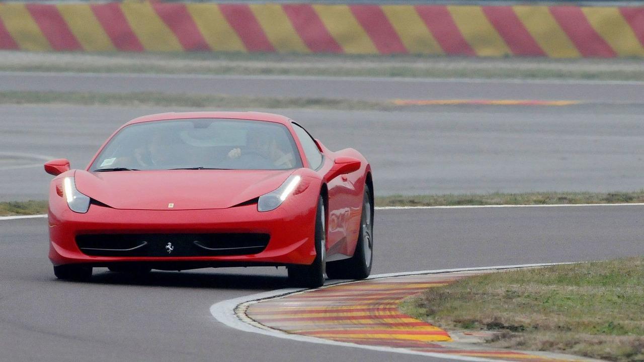 Valentino Rossi drives Ferrari 458 Italia, Fiorano race circuit, Maranello, Italy, 1/15/2010