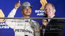 Lewis Hamilton, Mercedes AMG F1 W07 Hybrid with Martin Brundle