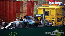 Mercedes AMG F1 W07 Hybrid of Nico Rosberg is recovered back to the pits on the back of a truck