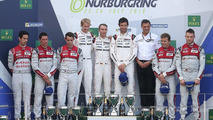 Podium: race winners Timo Bernhard, Mark Webber, Brendon Hartley
