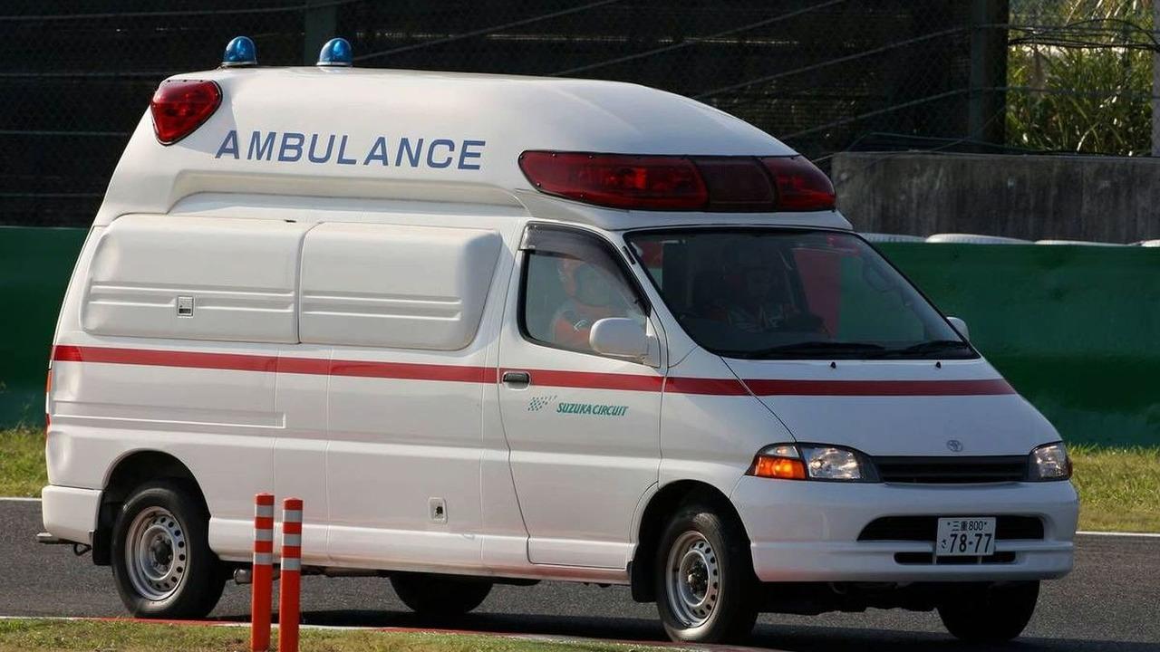 An ambulance takes Jaime Alguersuari (ESP), Scuderia Toro Rosso to the medical centre after a crash, Japanese Grand Prix, Sunday Race, Suzuka, Japan, 04.10.2009