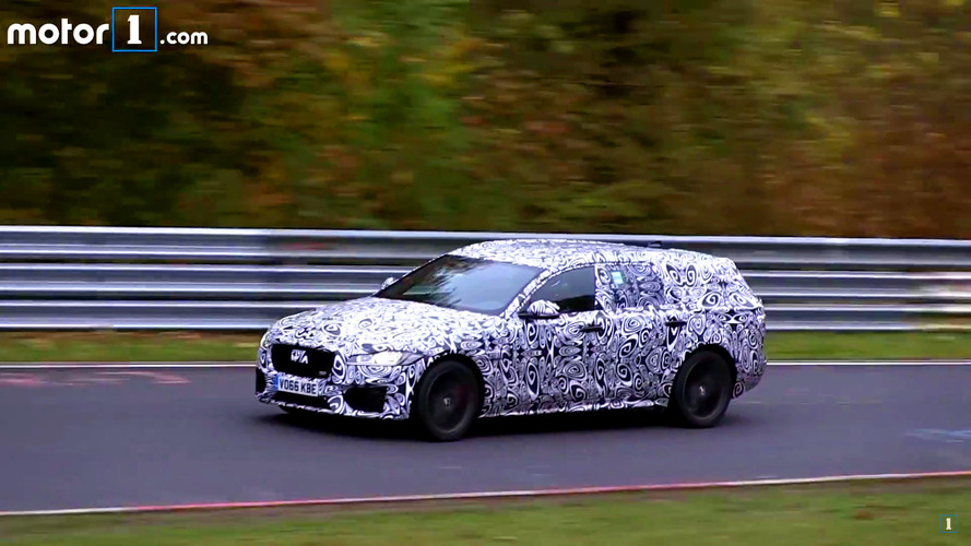 Jaguar XF Sportbrake spied on video at a misty Nurburgring