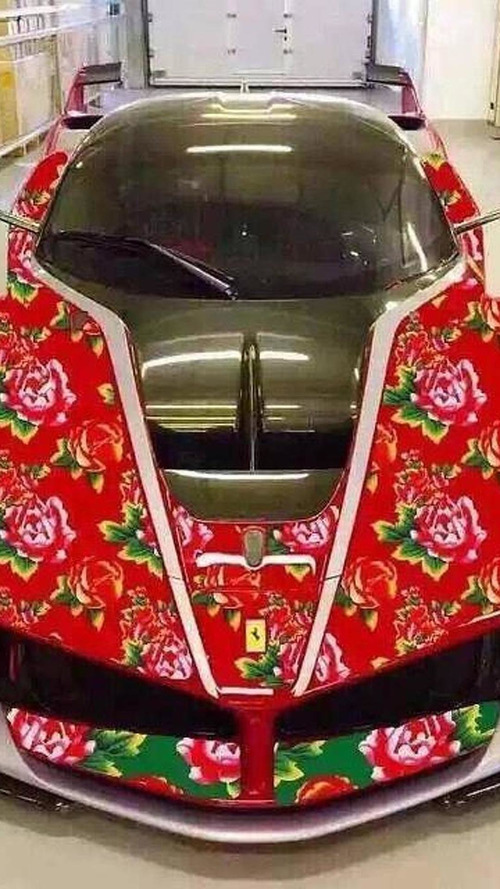 This Ferrari FXX K with floral theme is beyond tacky; hopefully it's fake