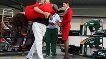 Sir Richard Branson (GBR), Virgin Group CEO, Tony Fernandes (MAL), Lotus F1 Team follow up their wager at the start of the season - Formula 1 World Championship, Rd 19, Abu Dhabi Grand Prix, 13.11.2010
