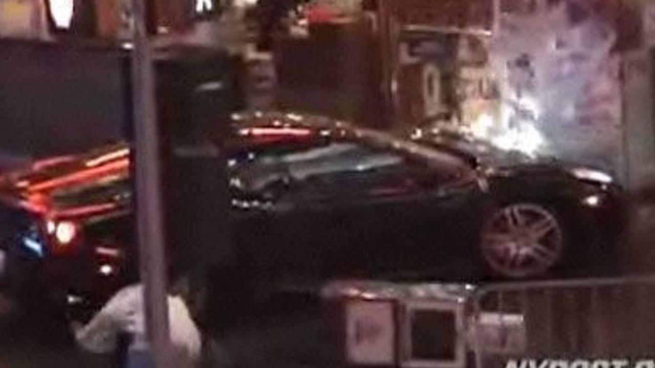 Stunt Driver Wrecks Ferrari F430 In Times Square