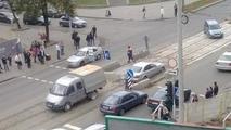 Mercedes-Benz E-Class stuck in wet concrete 24.09.2013