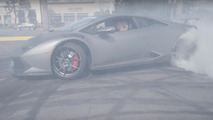 Lamborghini Huracan drifts at dealer