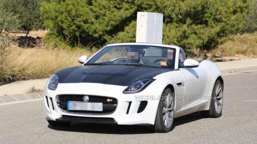 Jaguar F-Type spied with a new hood, possible four-cylinder engine