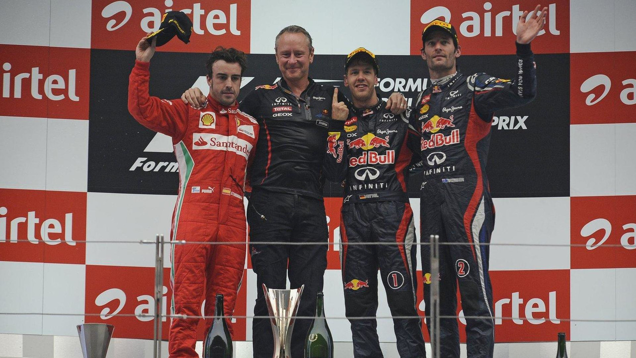 Fernando Alonso, Jonathan Wheatley, Sebastian Vettel, Mark Webber, Indian Grand Prix podium, 28.10.2012