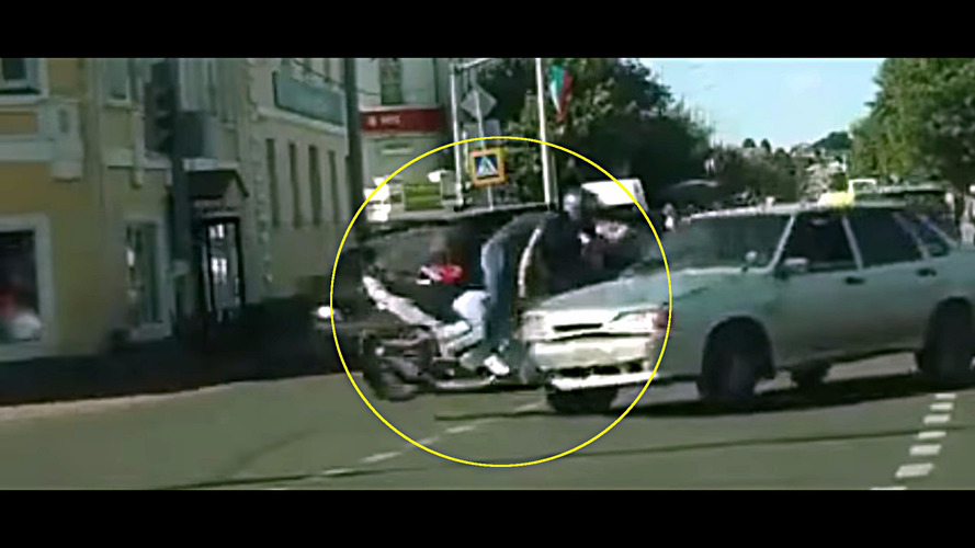 Biker has incredibly lucky escape from crash