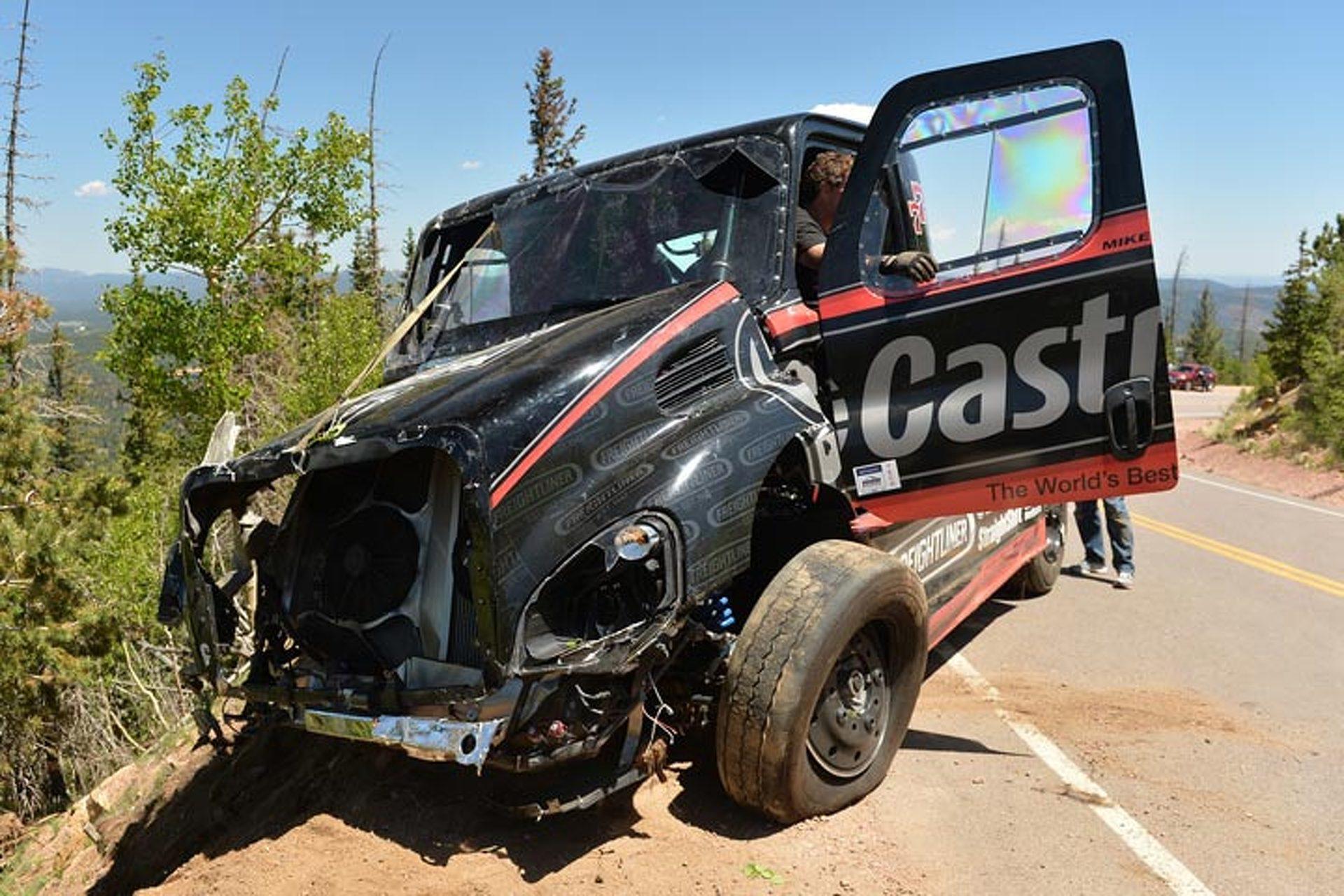Mike Ryan's Pikes Peak Freightliner Crashes in Practice