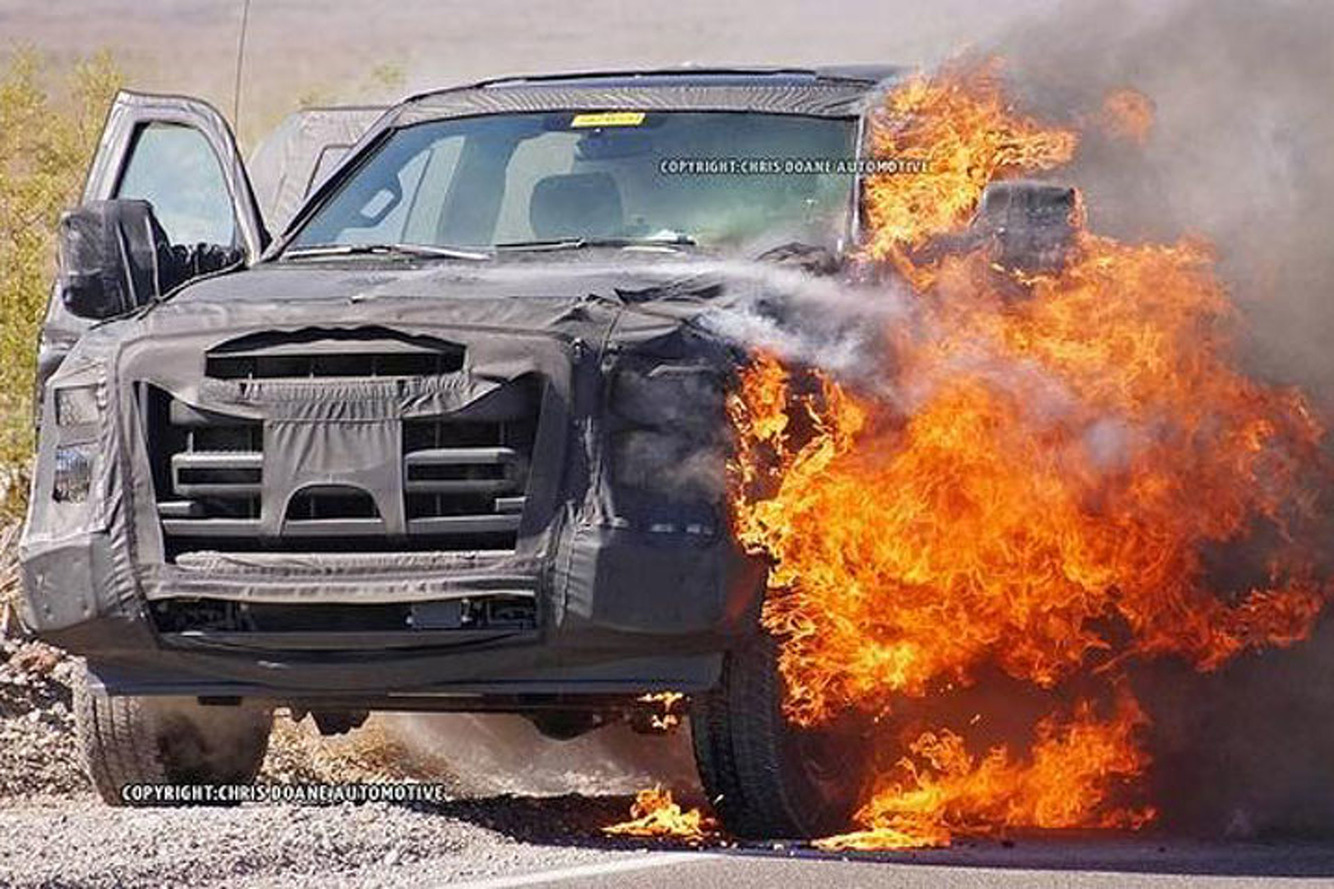 Ford Super Duty Prototye Catches Fire, Hints at a Secret