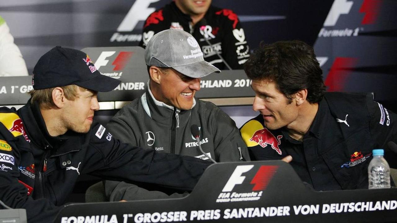 Sebastian Vettel (GER), Red Bull Racing, Michael Schumacher (GER), Mercedes GP Petronas, Mark Webber (AUS), Red Bull Racing, German Grand Prix, 22.07.2010 Mannheim, Germany