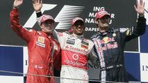 Kimi Raikkonen, Lewis Hamilton, Mark Webber celebrate, 2009 Hungarian GP