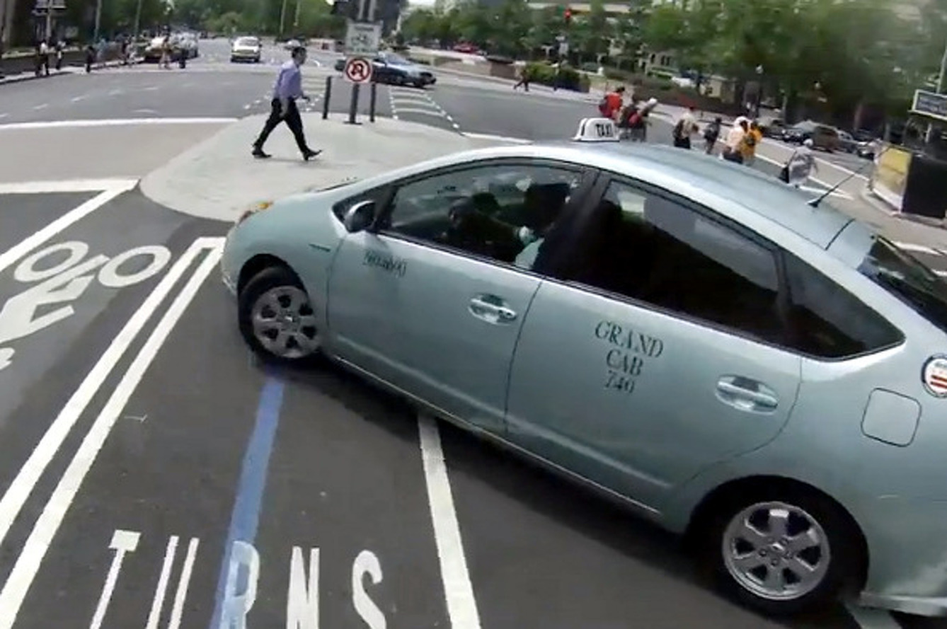 Quick Justice for Cab Nearly Hitting Cyclist [video]