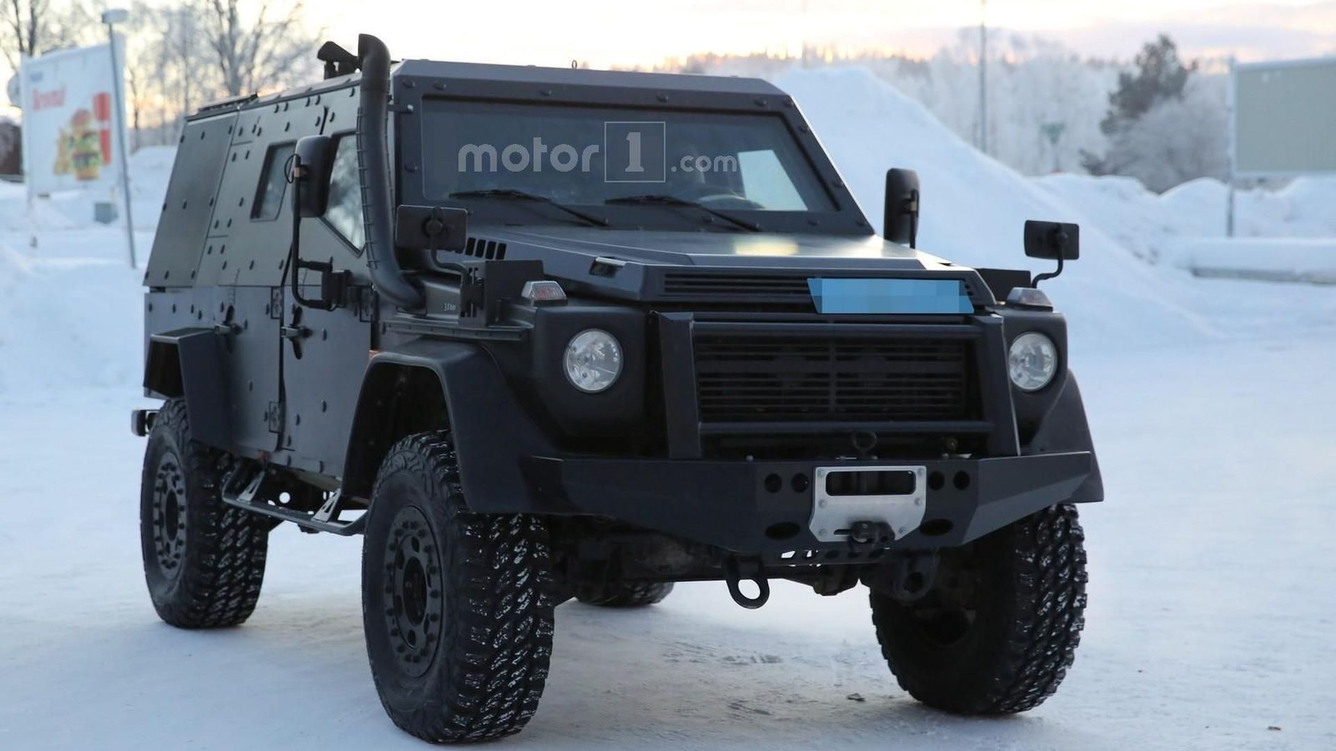 Mercedes G Class Light Armoured Patrol Vehicle spied near the Arctic Circle