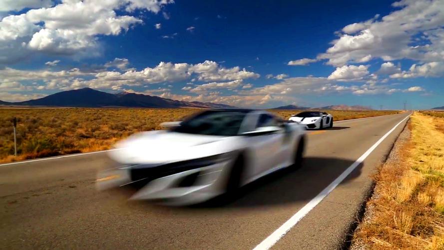 2017 Acura NSX races 2016 Lamborghini Aventador LP700-4 Pirelli Edition